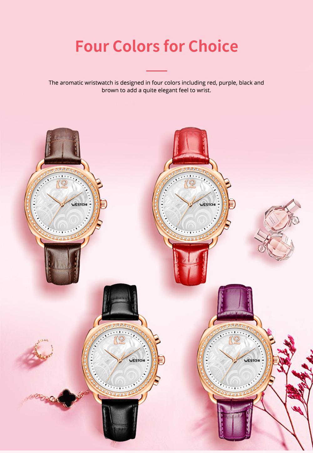 Fashionable Women's Wristwatch with Perfume Smell Screw-in Watch-head Wear Resistant Leather Miyota Quartz Watch 8
