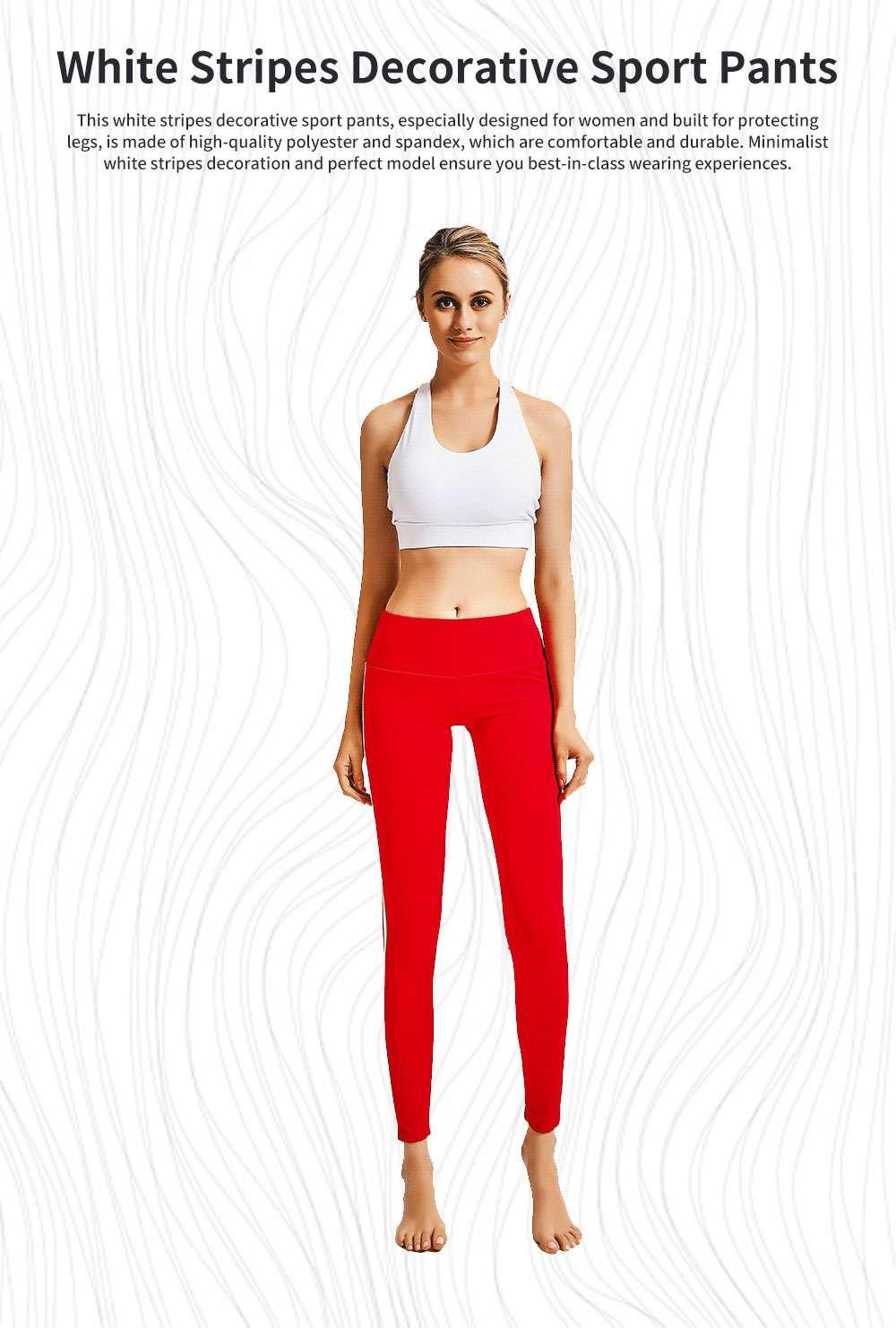 Stylish Minimalist Side White Stripes Decorative Long Sport Pants Lifting Butt Slim Fit Casual Yoga Dancing Pants for Ladies 0