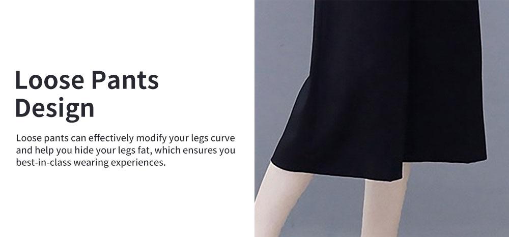 2PCS Minimalist Stylish Lines Printing Ladies Chiffon Shirt Loose Pants Suit Half Sleeve Tops Straight-leg Pants for Women 4