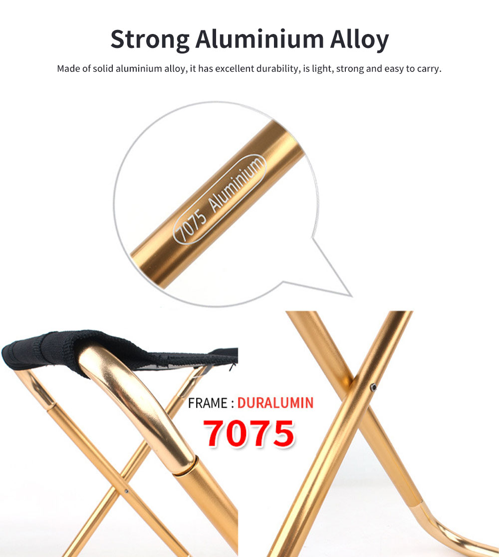 Outdoor Small Folding Chair Aluminium Alloy Folding Stool, Adult Mini Portable Chair for Barbecue or Fishing Train Stool 1