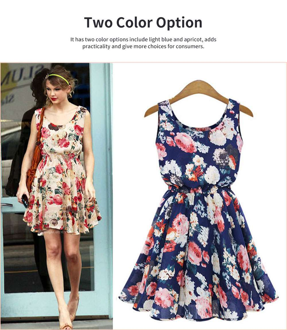 Printed Dress for Women Round Collar Exquisite Flower Printing Light Blue and Apricot Polyester One-piece Dresses Summer 1