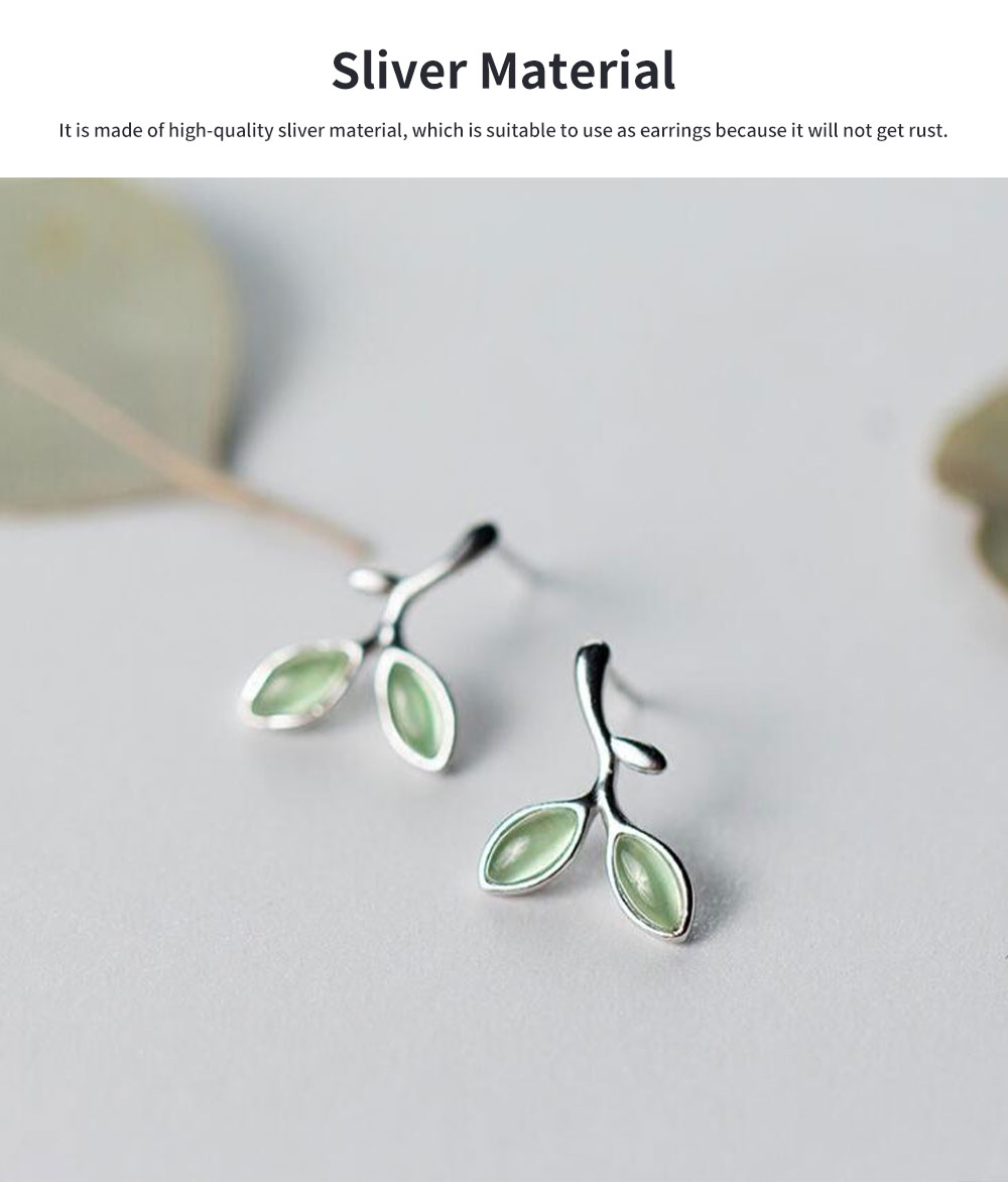 Green Leaf earrings for women Opals Pairs Suits Fashion and Simple Style 925 Sterling Sliver Ear Stud 5