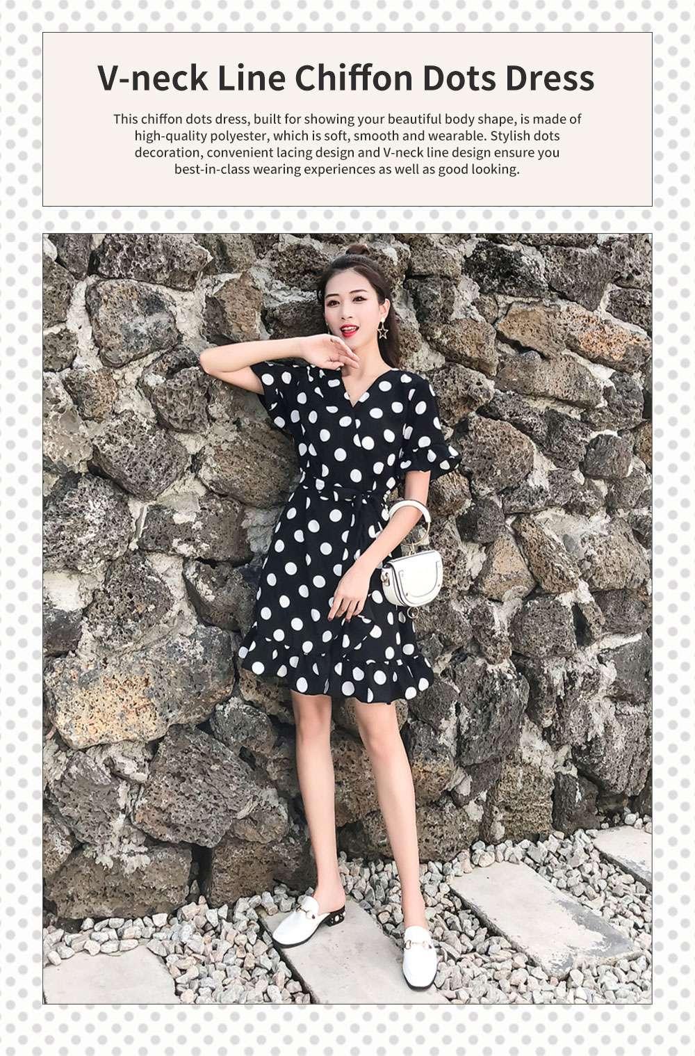 Elegant Fancy Dots Decorative V-Neck Line Dress Slim Fit Model Chiffon Lacing Dress with Falbala Sleeves 0
