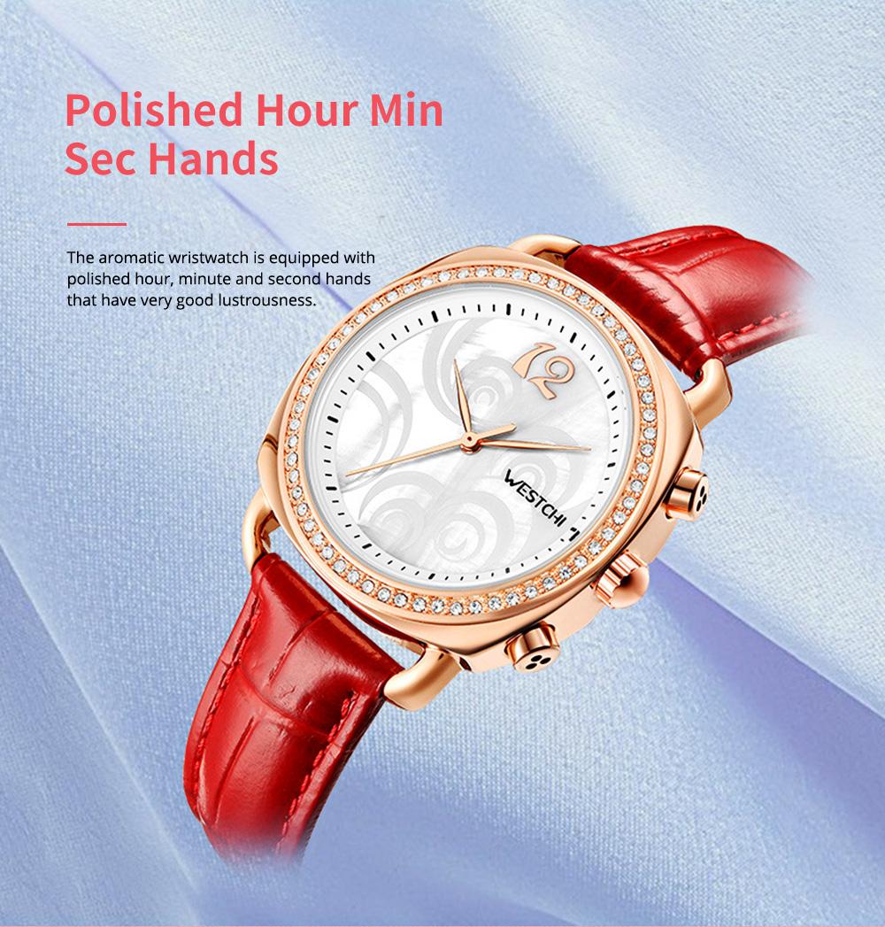 Fashionable Women's Wristwatch with Perfume Smell Screw-in Watch-head Wear Resistant Leather Miyota Quartz Watch 2