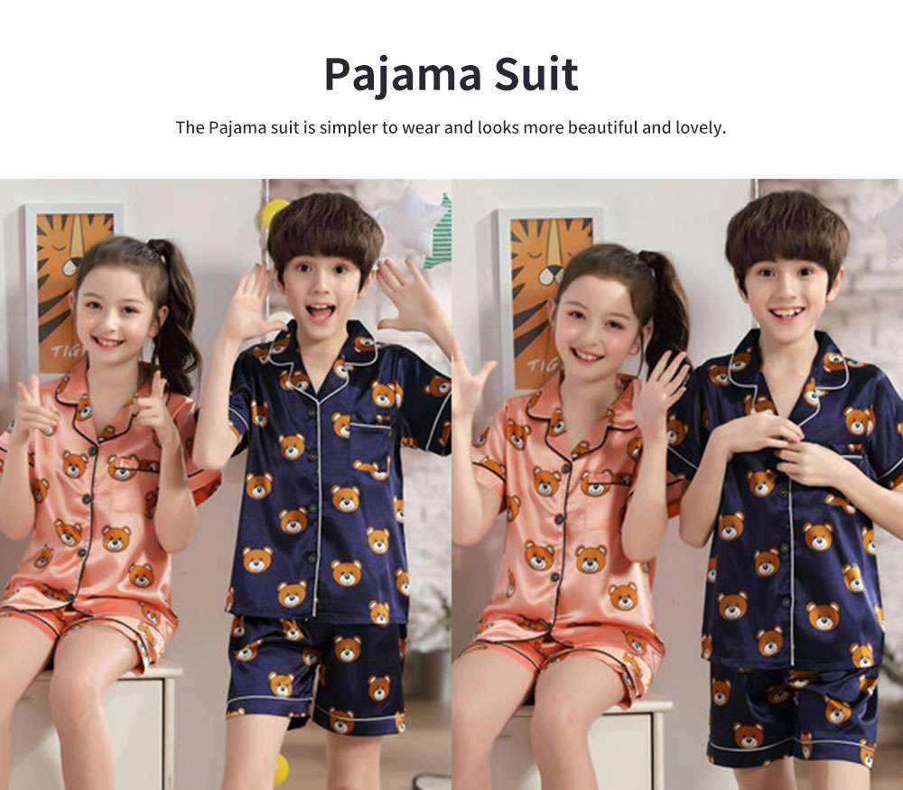 Parent-child Summer Two-piece Suit Cute Cartoon V-neck Lapel Pajamas, Silk-like Short-sleeved Bear Home Suit for Boy and Girl Clothes 2