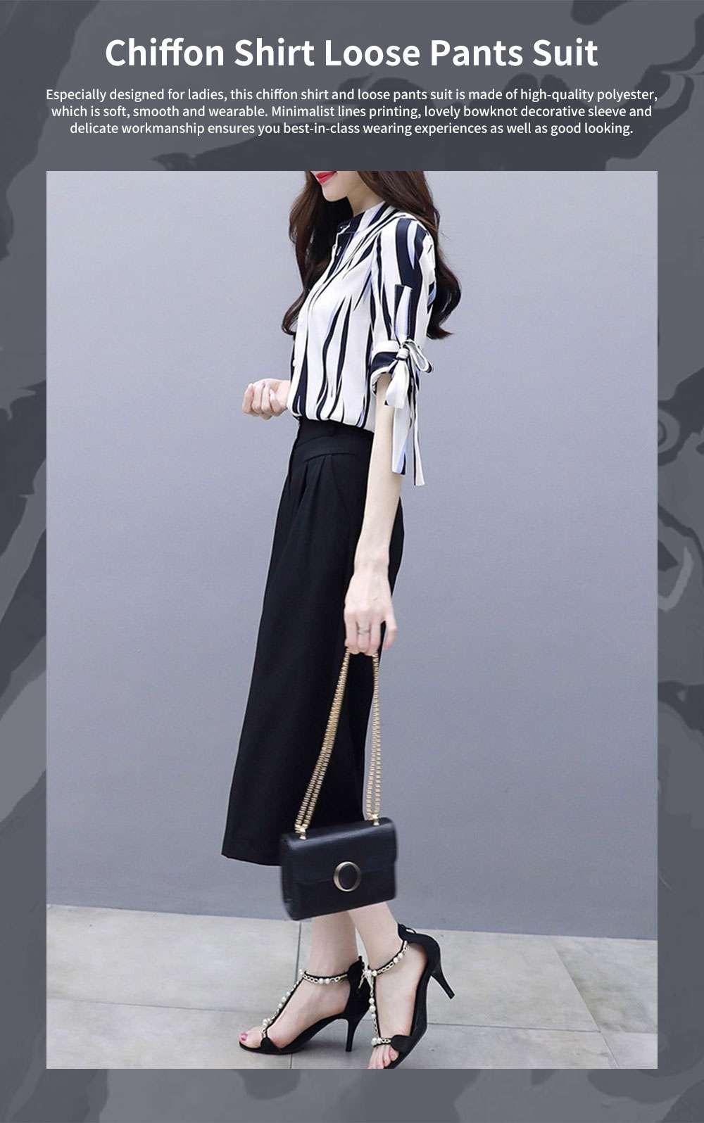 2PCS Minimalist Stylish Lines Printing Ladies Chiffon Shirt Loose Pants Suit Half Sleeve Tops Straight-leg Pants for Women 0