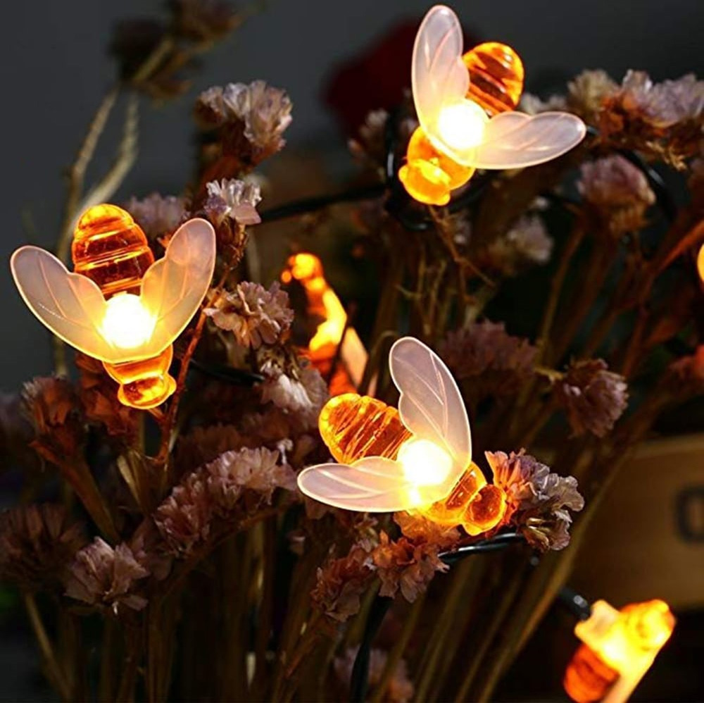 7M 50Leds Christmas Bee Shape Light Solar Powered Outdoor Decorative Lighting Waterproof 3