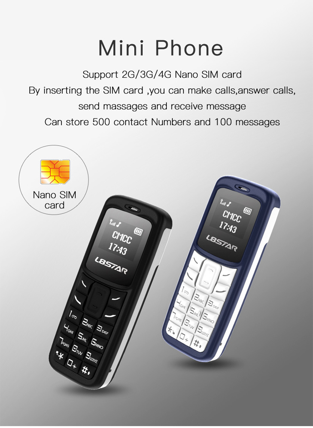 L8STAR BM10 Mini Phone 0.6 inch Lightweight Small Mobile Phone Magic Voice Call Bluetooth Mini Cell Phone 3