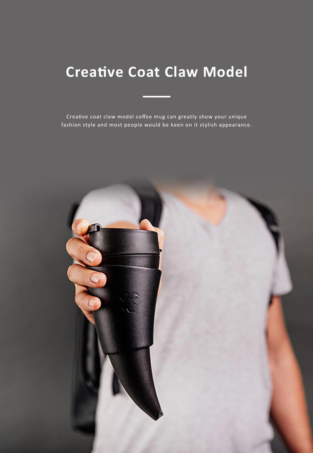 Stylish Creative Goat Claw Model Coffee Mug With Cover Leather Cup Cover Supporter Portable Outdoors Cup 3