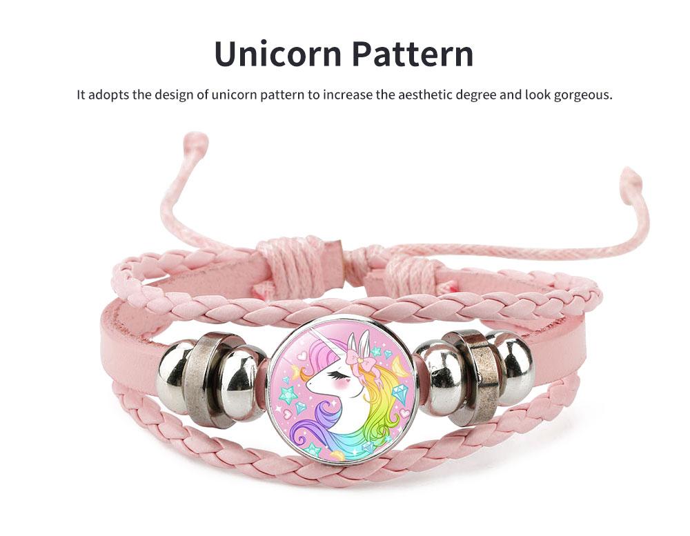 Unicorn Bracelet Ornaments Glass Material Imitation Leather Adjustable Belt Hand Catenary 1