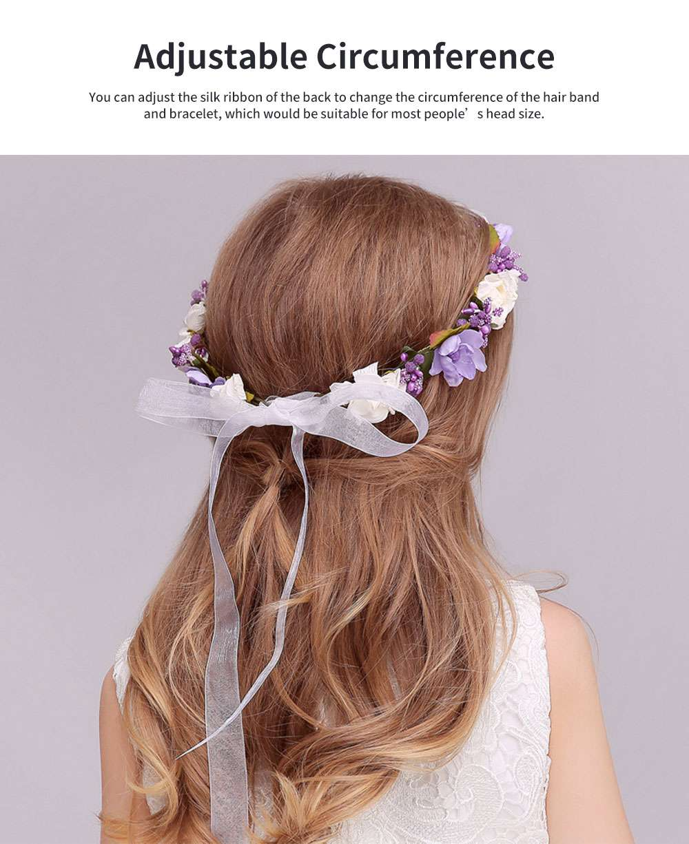 Elegant Fancy Artificial Flower Decorative Hair Band Bracelet Wedding Vacation Shooting Garland Hair Accessories Hand Chain 3