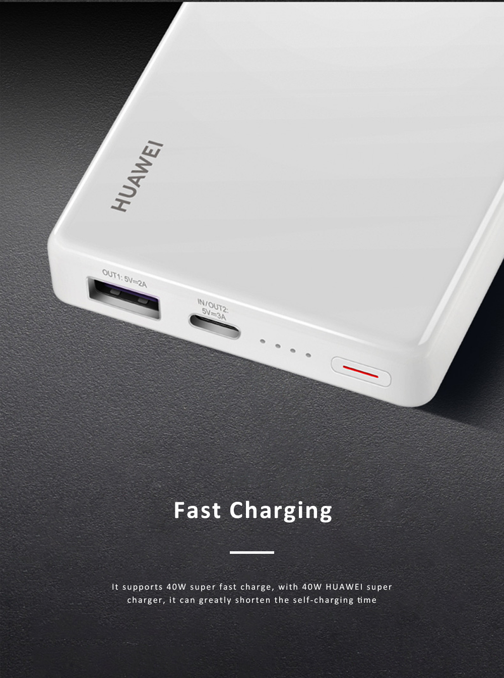 Huawei Mobile Phone Power Bank Wireless Portable Charger 12000 mAh 40W External Battery Pack Fast Charge Treasure 2