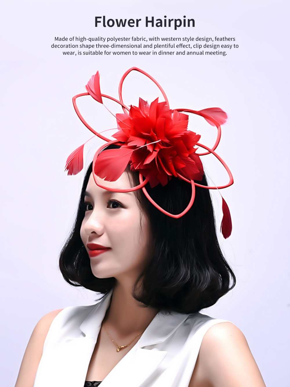 Flower Hairpin for Dinner and Annual Meeting Clip Design Western Style Feathers Decoration Plentiful Ultralight Hat 0