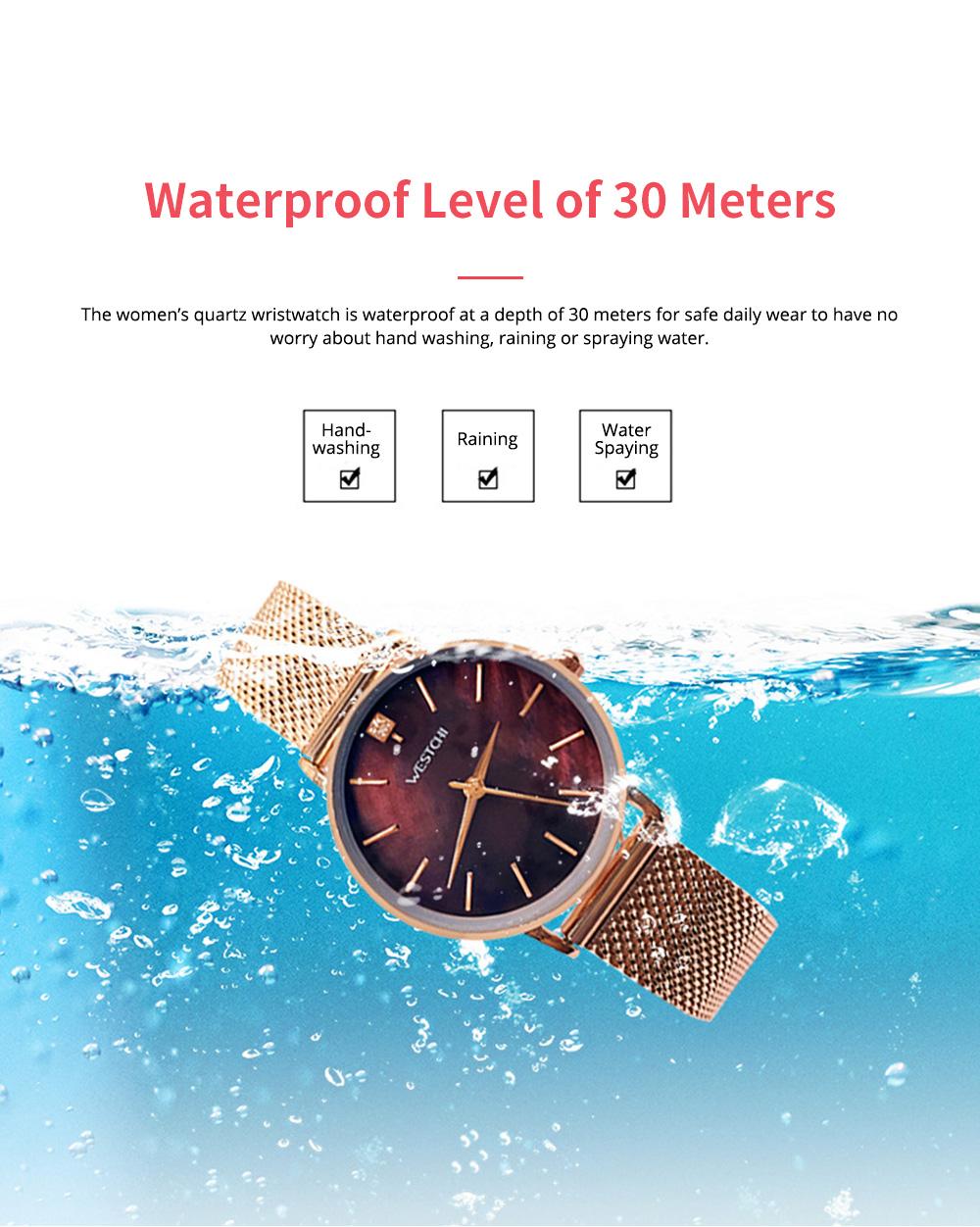 Elegant Quartz Women's Watch with Japan Miyota Movement & Mesh Bracelet Waterproof Mineral Tempered Looking Glass Wristwatch 5