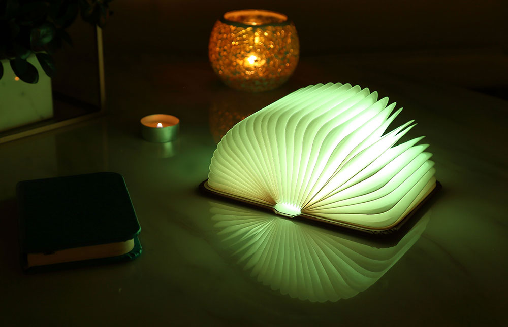 Creative Delicate Book Model Folding USB Charging Bedside Lamp Leather Cover Notebook Colorful Night Light 3