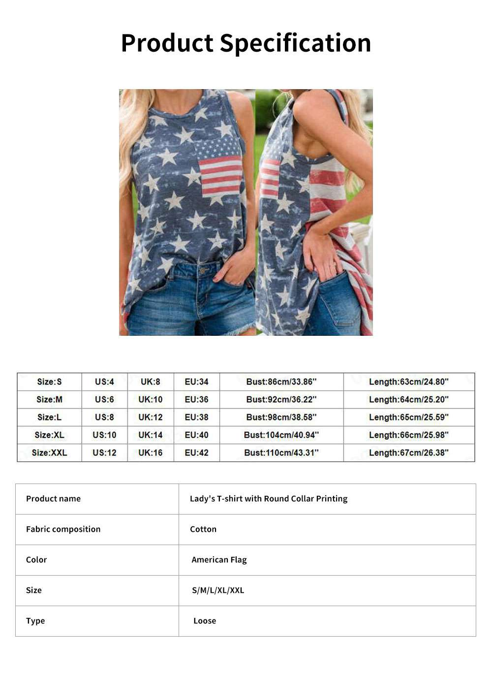 Lady's T-shirt with Round Collar Printing Sleeveless American Independence Day Printing T Shirt 6