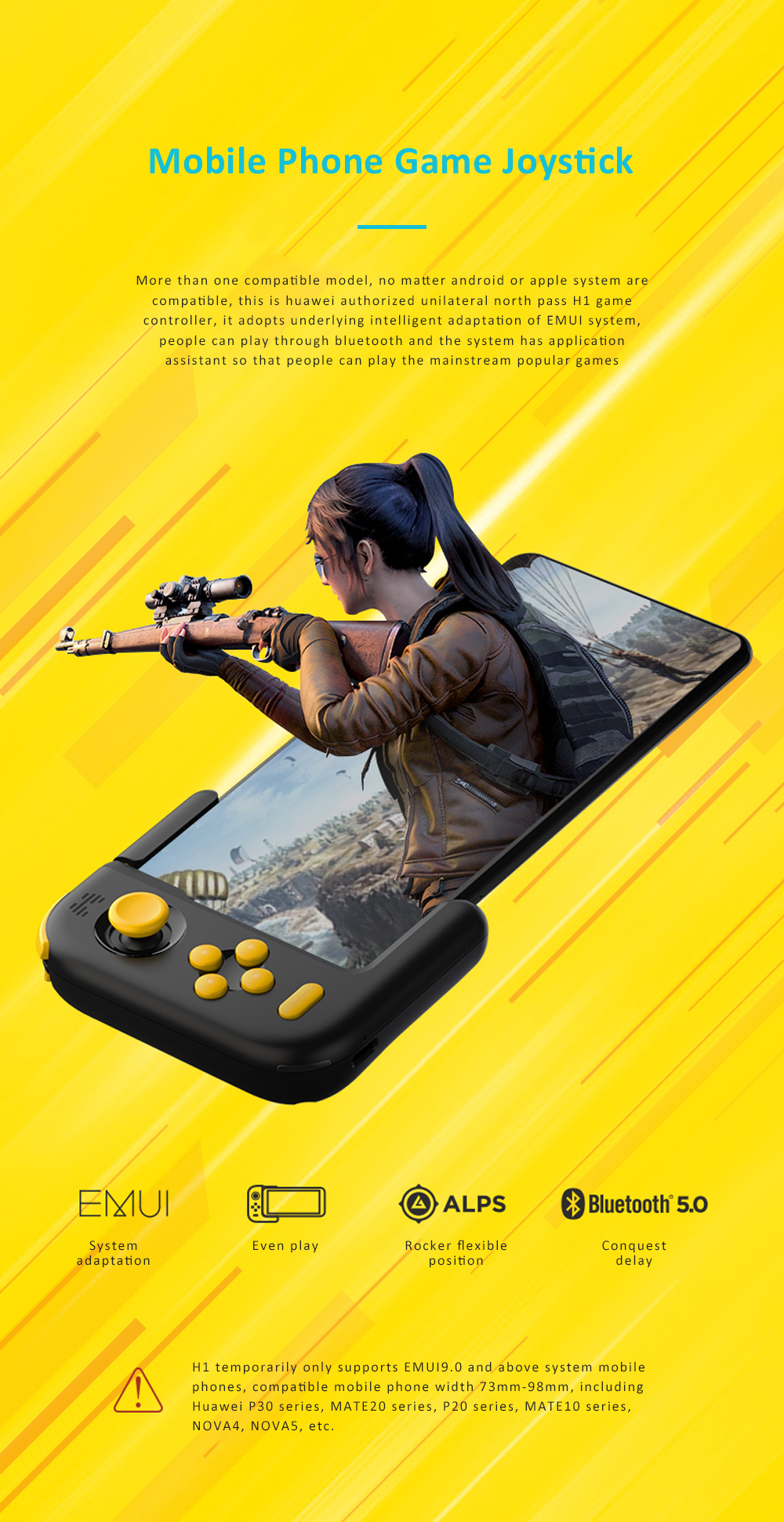 Huawei Beitong H1 Bluetooth Gamepad Joystick For Player Unknown's Battlegrounds Pukk Huawei Mobile Phone Game Controller for Mate20 P30 P20 0