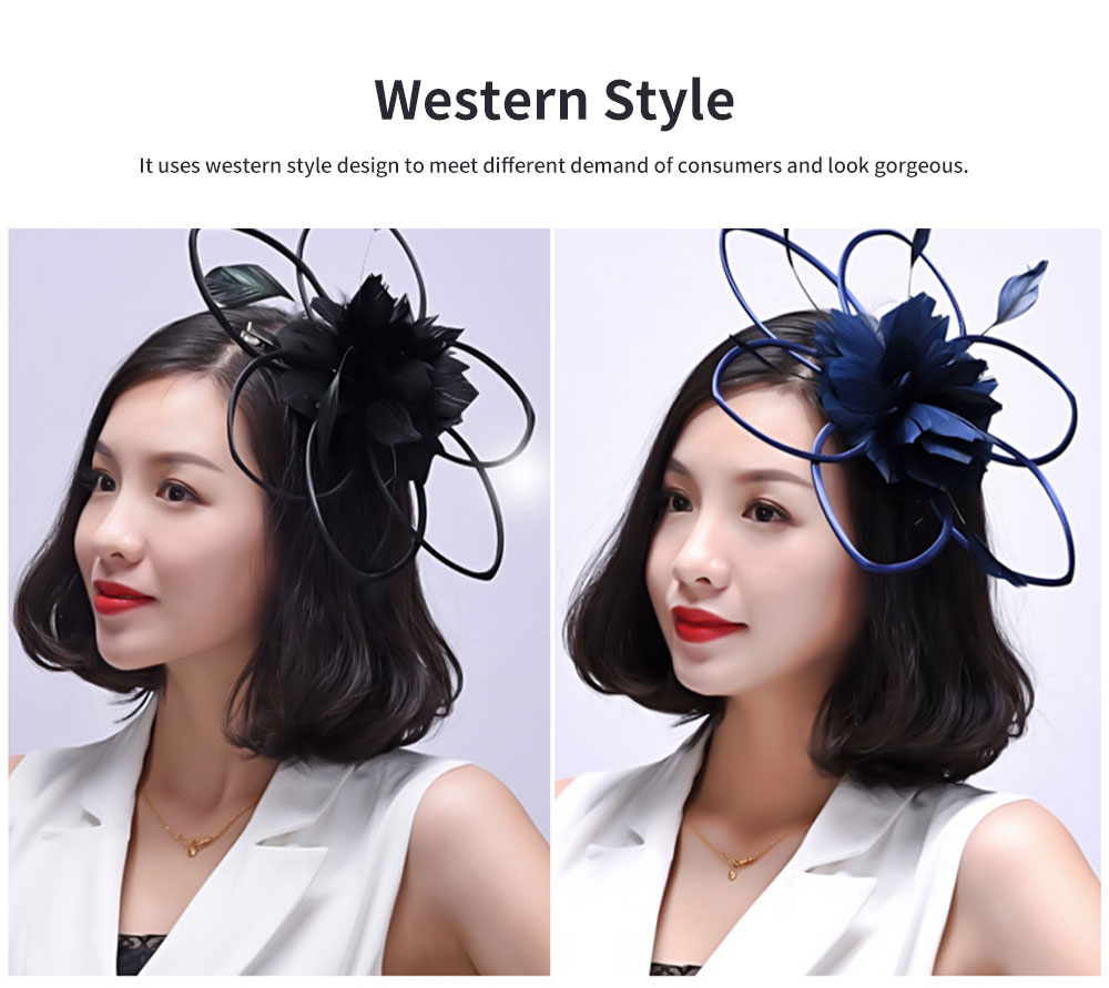 Flower Hairpin for Dinner and Annual Meeting Clip Design Western Style Feathers Decoration Plentiful Ultralight Hat 2