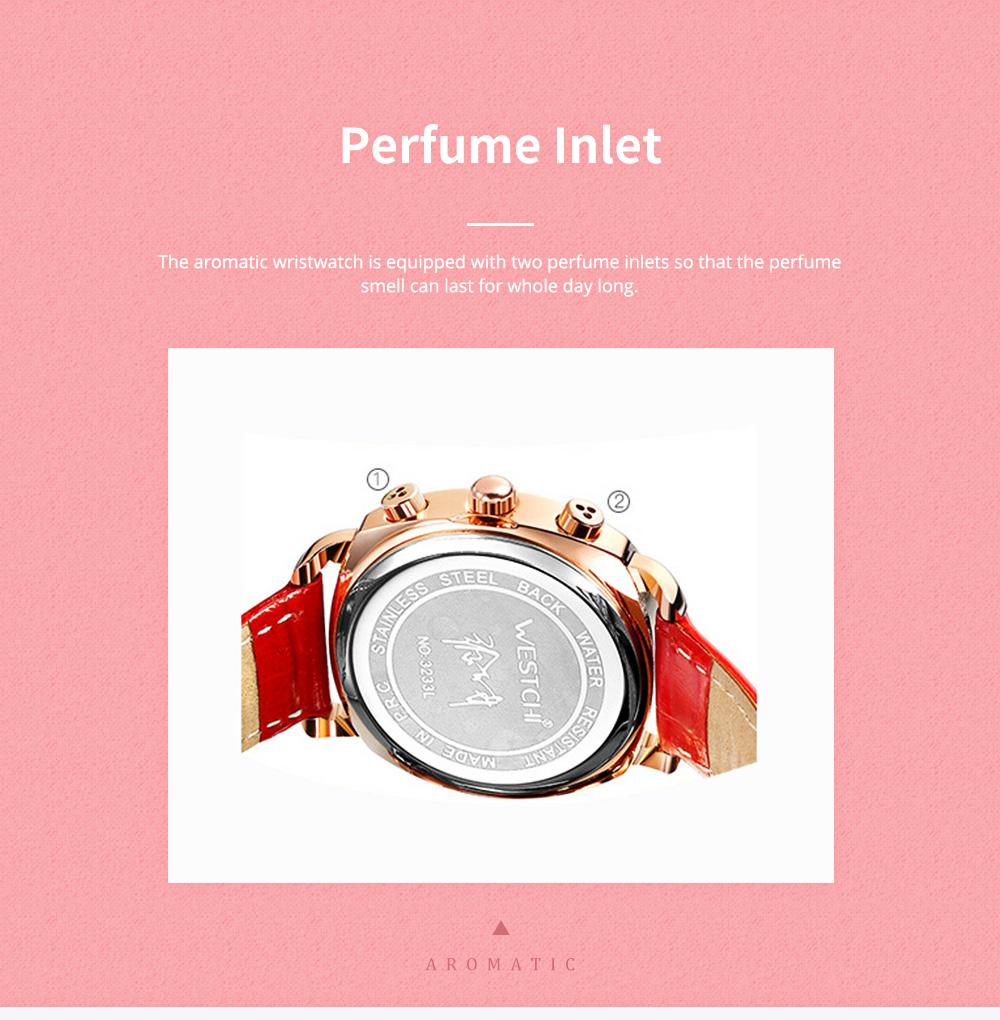 Fashionable Women's Wristwatch with Perfume Smell Screw-in Watch-head Wear Resistant Leather Miyota Quartz Watch 5