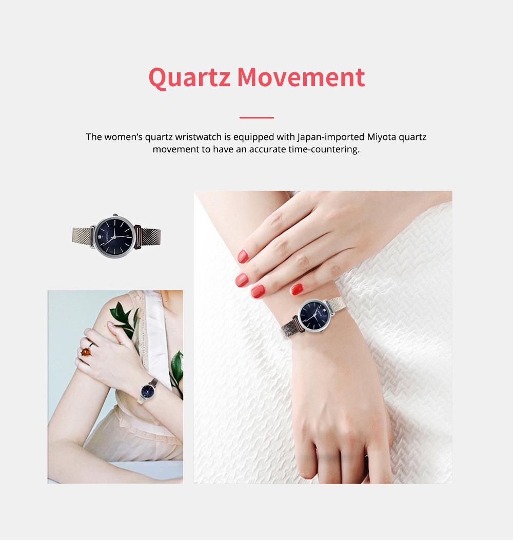Elegant Quartz Women's Watch with Japan Miyota Movement & Mesh Bracelet Waterproof Mineral Tempered Looking Glass Wristwatch 4