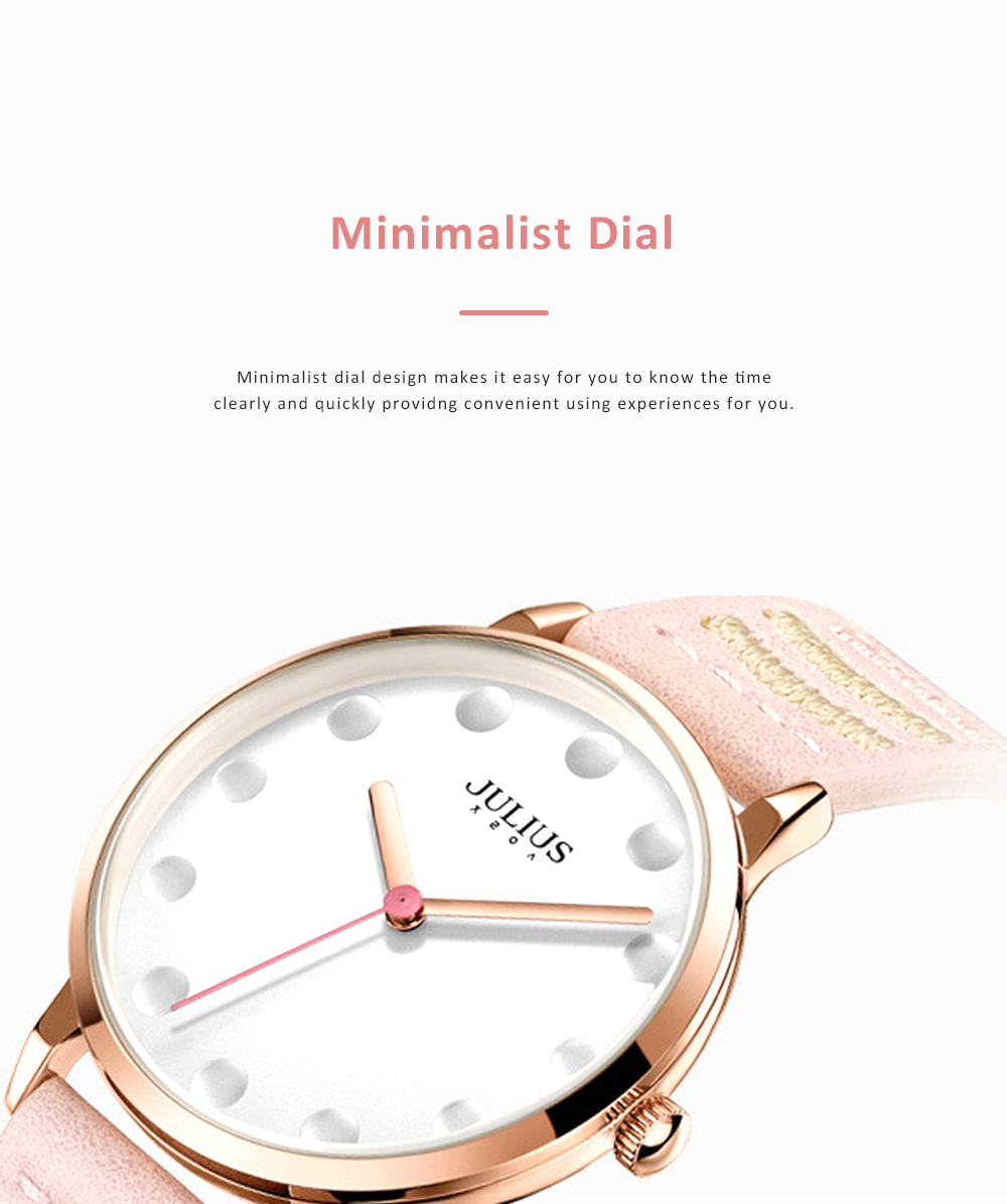 Lady Stylish Minimalist 30M Waterproof Quartz Wrist Watch with Microfiber Leather Strap Delicate Stitching Decoration 1