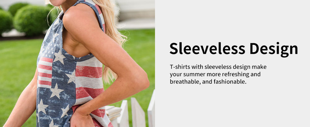 Lady's T-shirt with Round Collar Printing Sleeveless American Independence Day Printing T Shirt 3