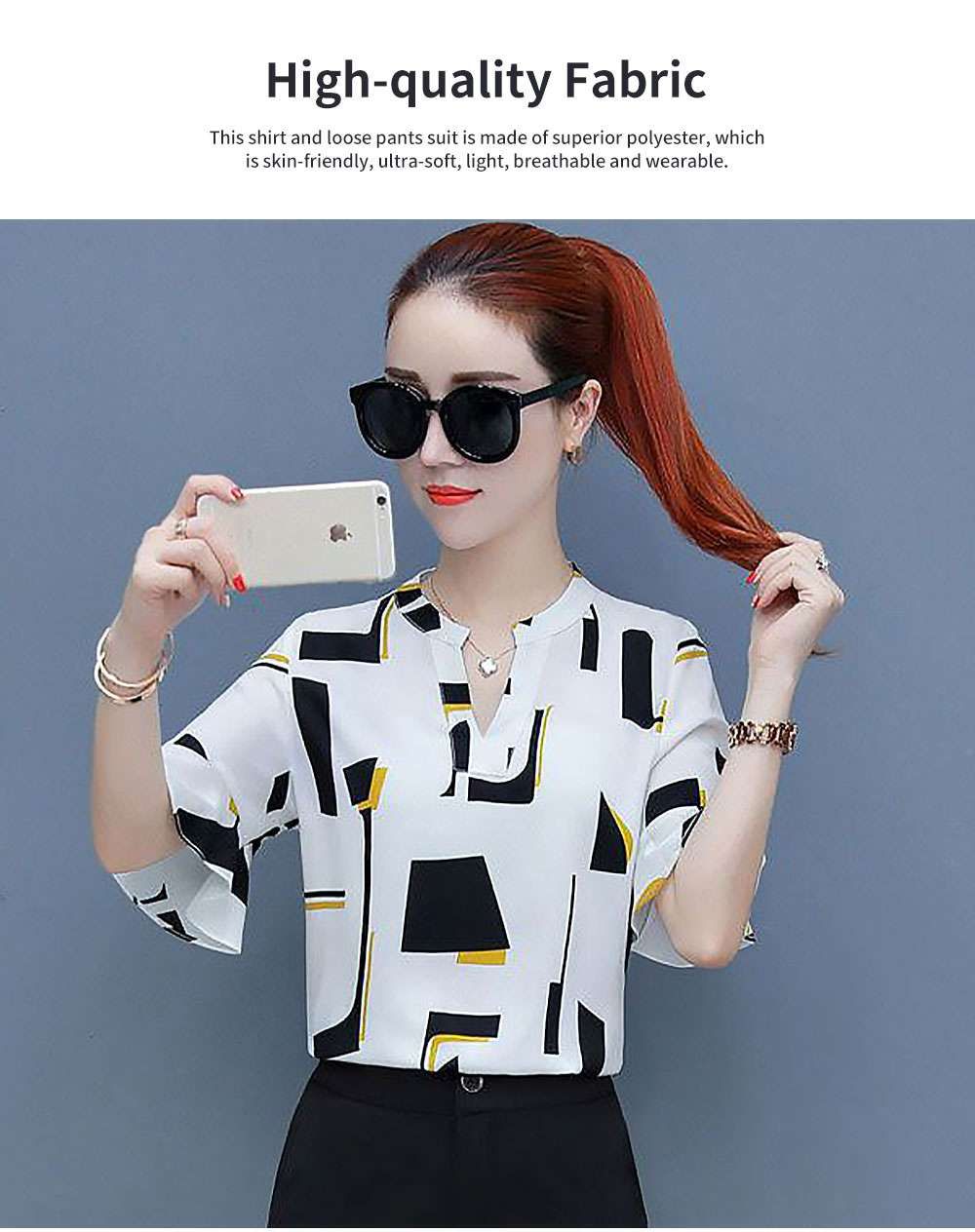 Stylish V-Neck Line Chiffon Shirt Loose Pants Suit for Ladies Minimalist Geometric Figure Pattern Decorative Tops with Falbala Sleeves 1