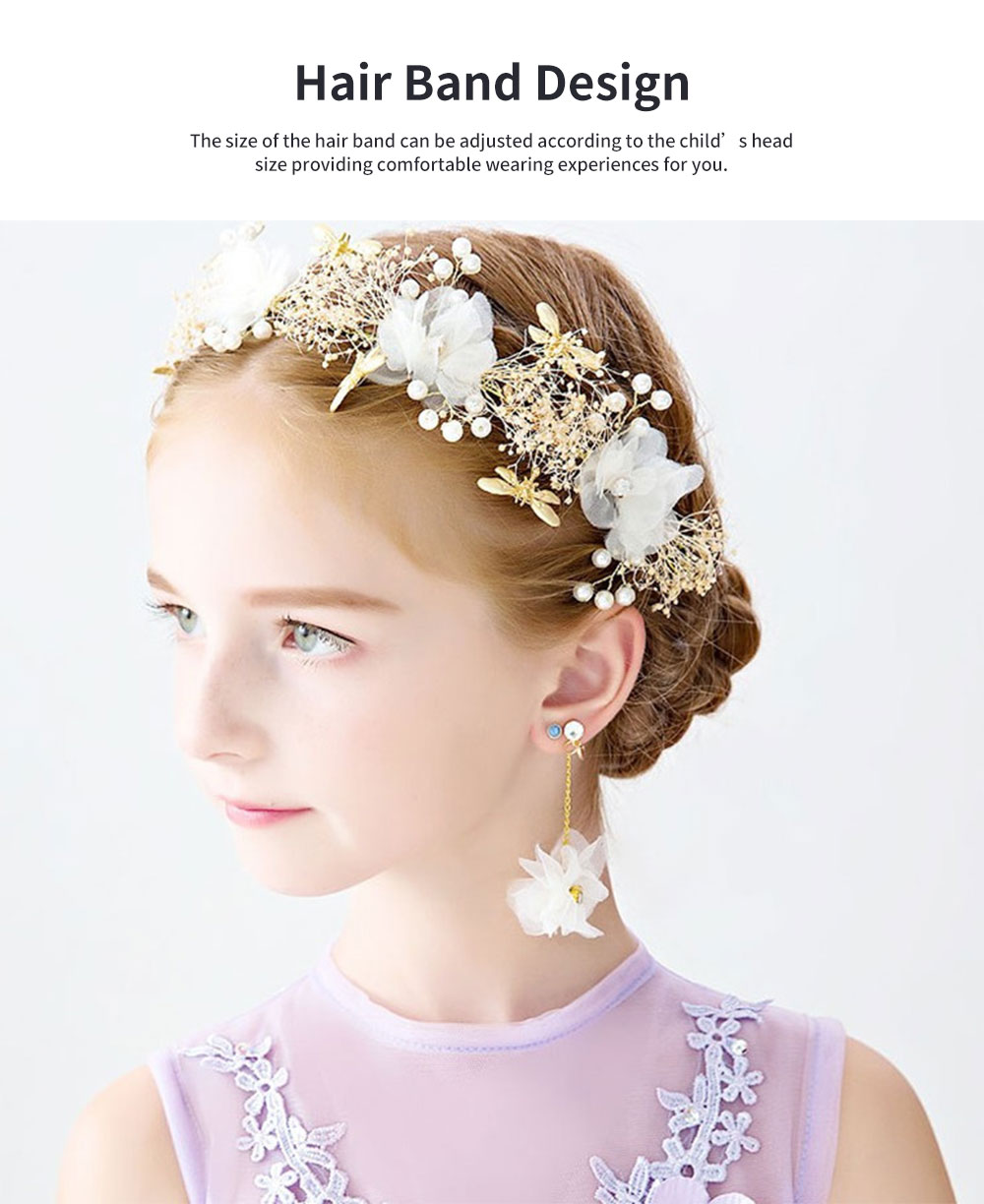 Fancy Flower Bees Model Artificial Pearl Decorative Hair Ornament Delicate Girl Crown Ear Clip Accessories Suit 3PCS 5