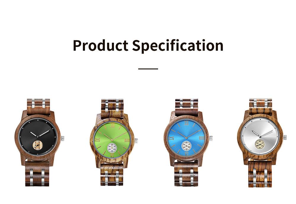 Casual Wood Watch with Wood Watchcase and Bracelet for Unisex Use Waterproof Japanese Quartz Movement Wood-steel-mixed Wristwatch 7