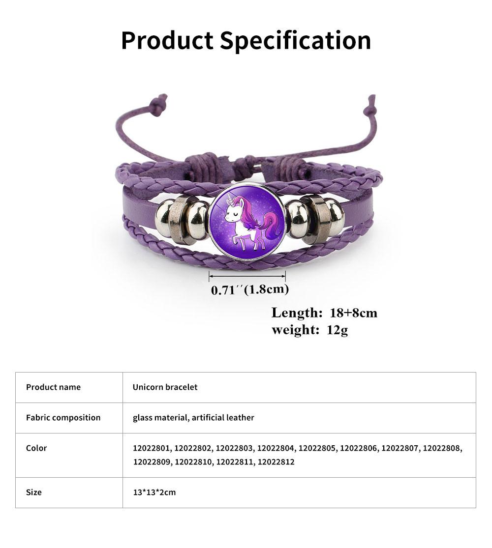 Unicorn Bracelet Ornaments Glass Material Imitation Leather Adjustable Belt Hand Catenary 5