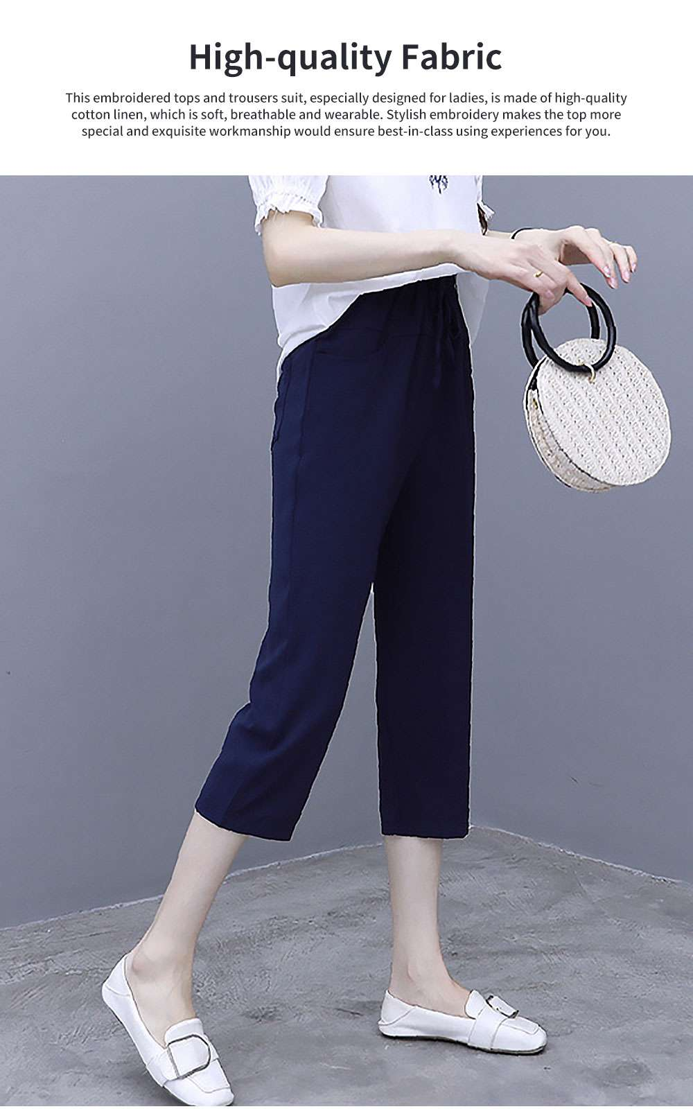 Elegant Casual Summer Lady Embroidered Tops Trousers Suit Breathable Cotton Linen Atmosphere Feet Ninth Pants for Women 1