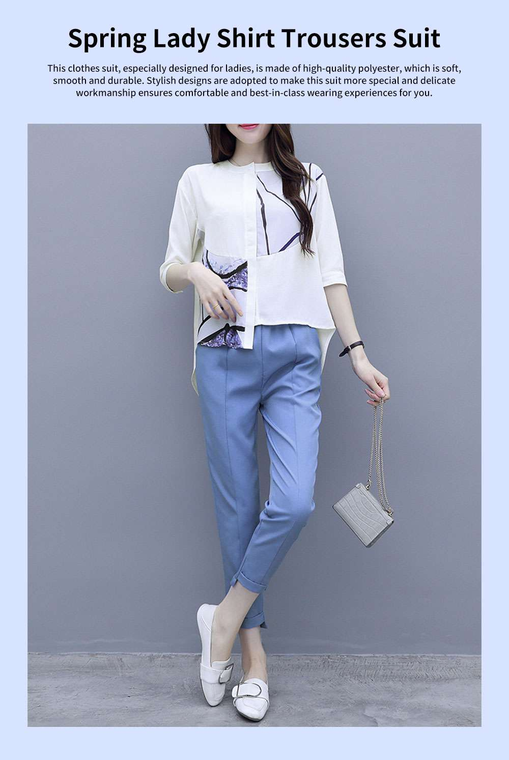 Minimalist Atmosphere Spring Lady Shirt Casual Trousers Suit Fashion Light Feet Pants Jointed Style Top for Women 0