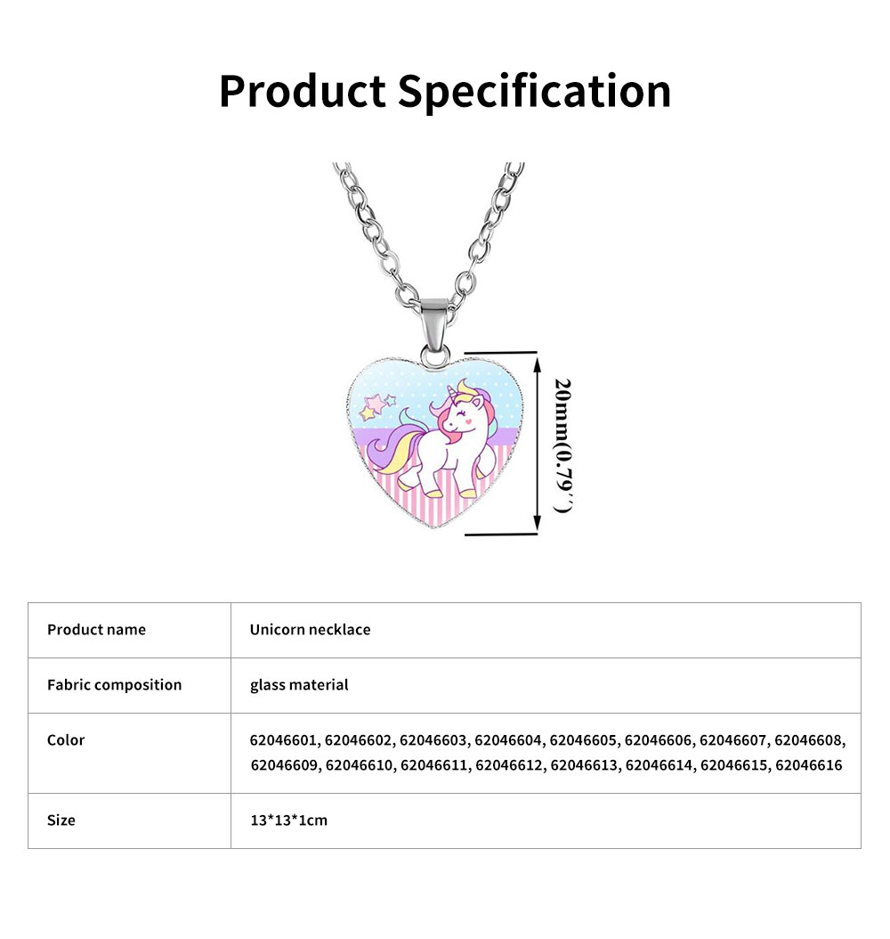 Unicorn Necklace for Birthday Gift Employee Benefit Souvenirs and Wedding Gift, Carton Style Glass Pendant Accessory 6