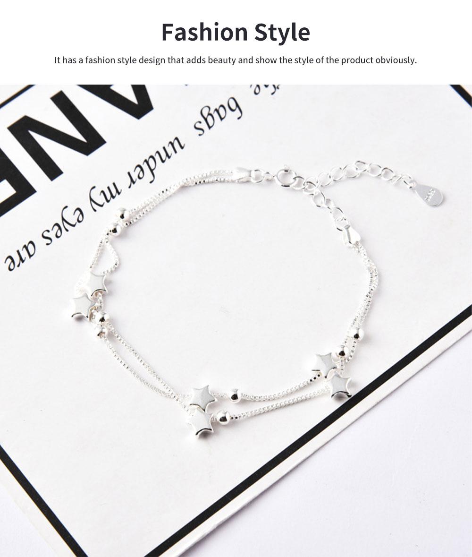 Luck Bracelet for Women Wide Range Stars Shape Korean Style 925 Sterling Silver Hand Catenary 2