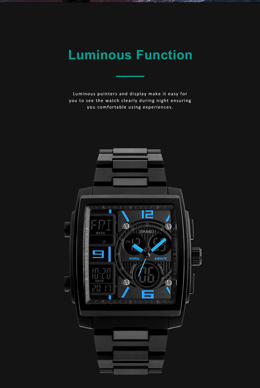 Stylish Minimalist Multifunctional Three Times Square Dial Casual Outdoor Sports Men Electronic Movement PU Strap Wristwatch 4