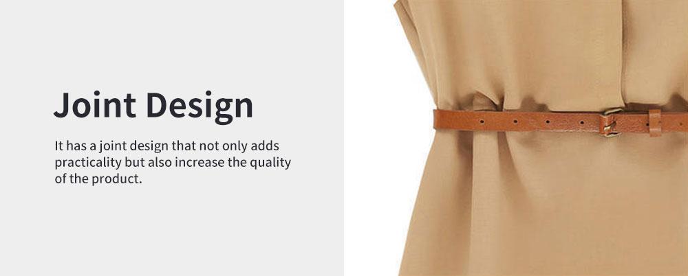 Raglan Dress for Women Lapel Design with Waist Strap Elegant Gorgeous One-piece Chiffon Short-sleeved Dress 4