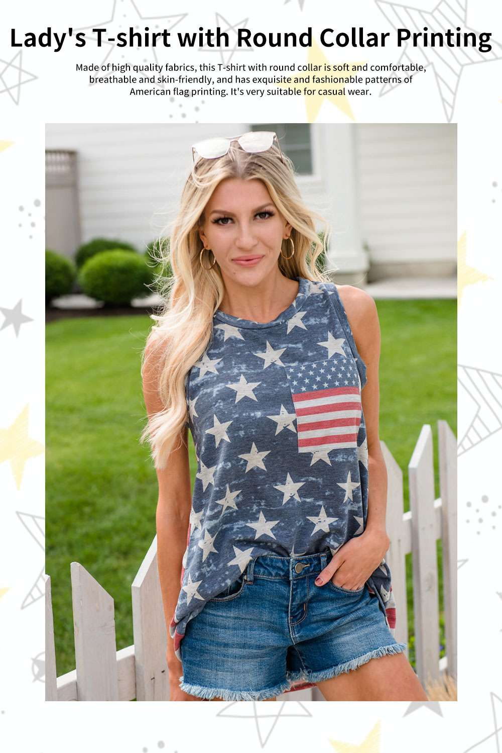 Lady's T-shirt with Round Collar Printing Sleeveless American Independence Day Printing T Shirt 0
