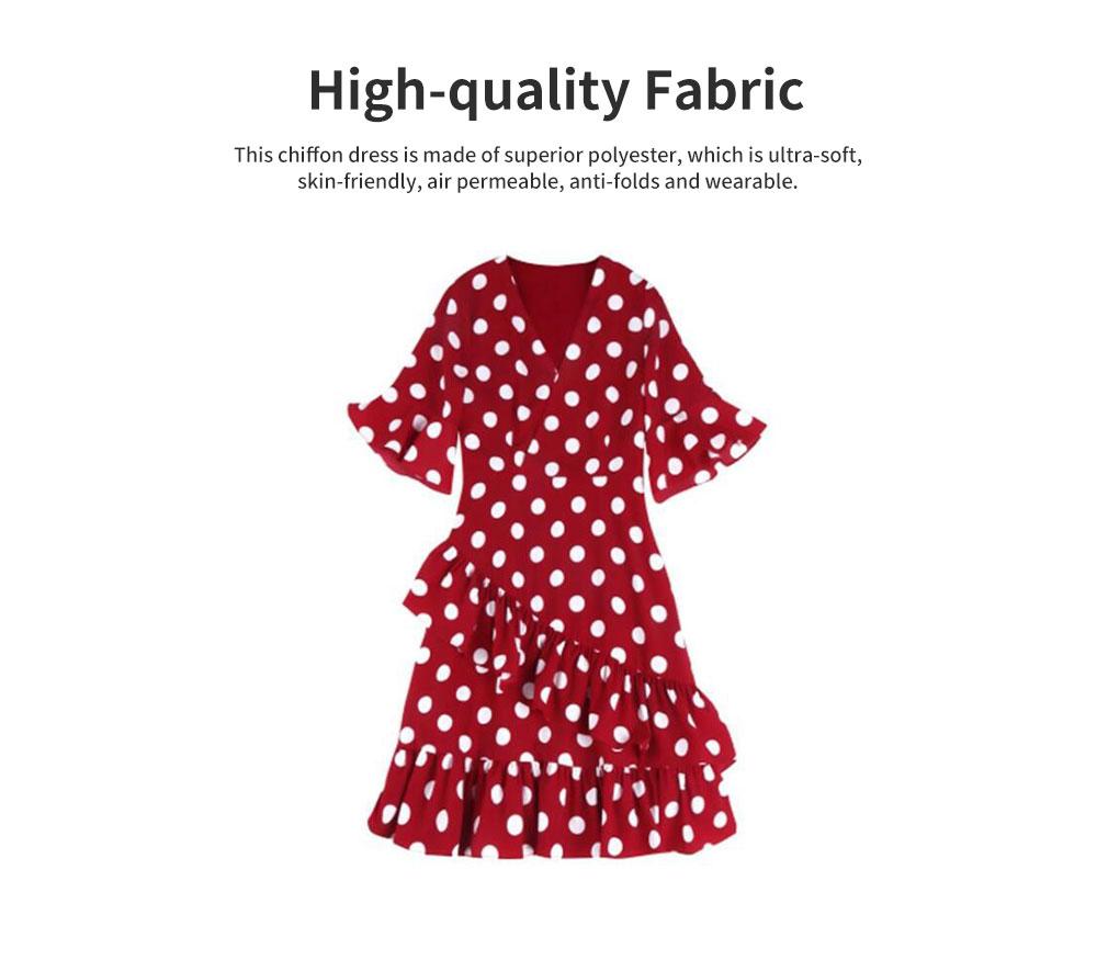 Elegant Fancy Dots Decorative V-Neck Line Dress Slim Fit Model Chiffon Lacing Dress with Falbala Sleeves 1