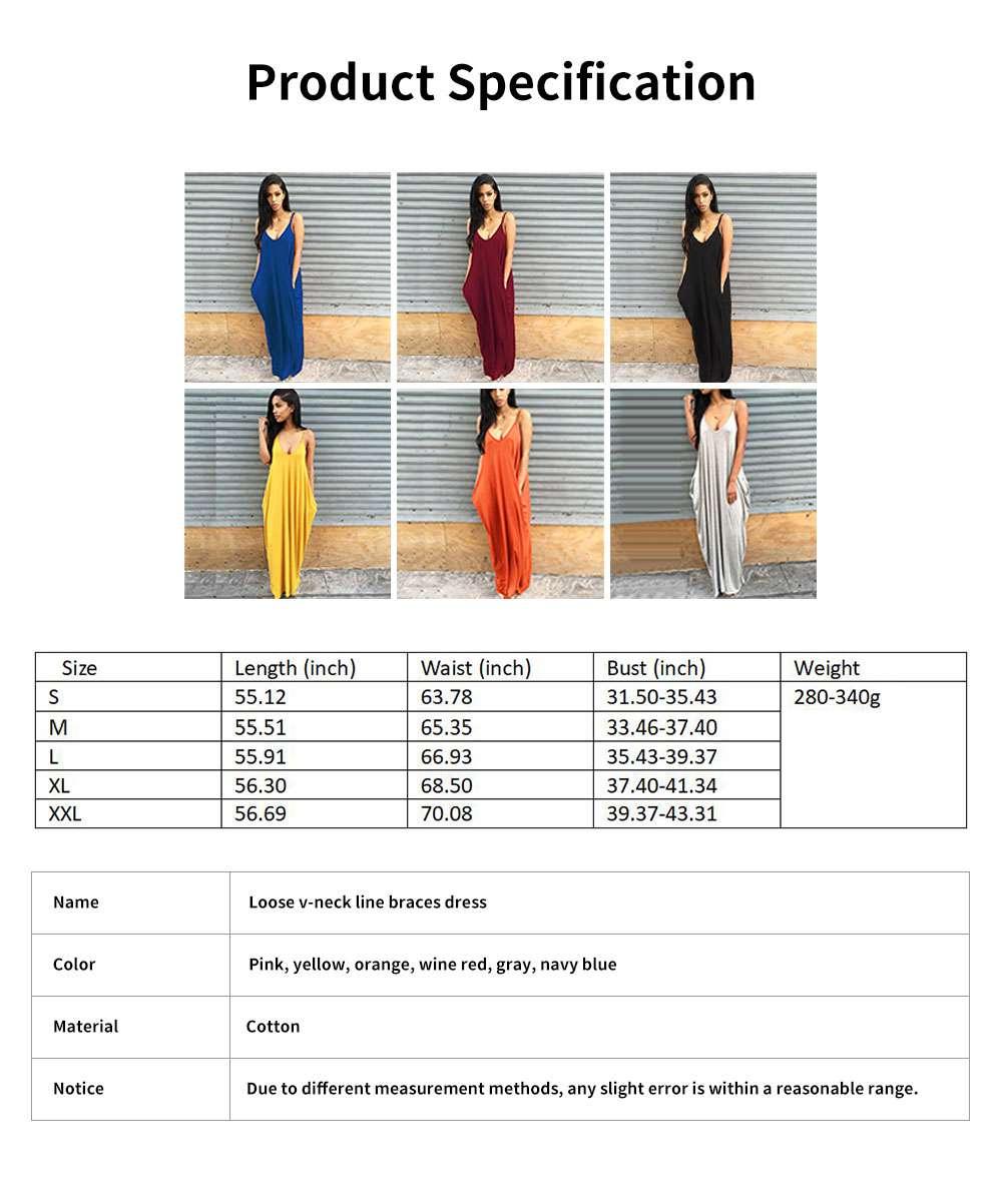 Sexy Fancy V-neck Line Women Braces Dress Summer Vacation Beach Irregular Loose Low-cut Long Dress 5
