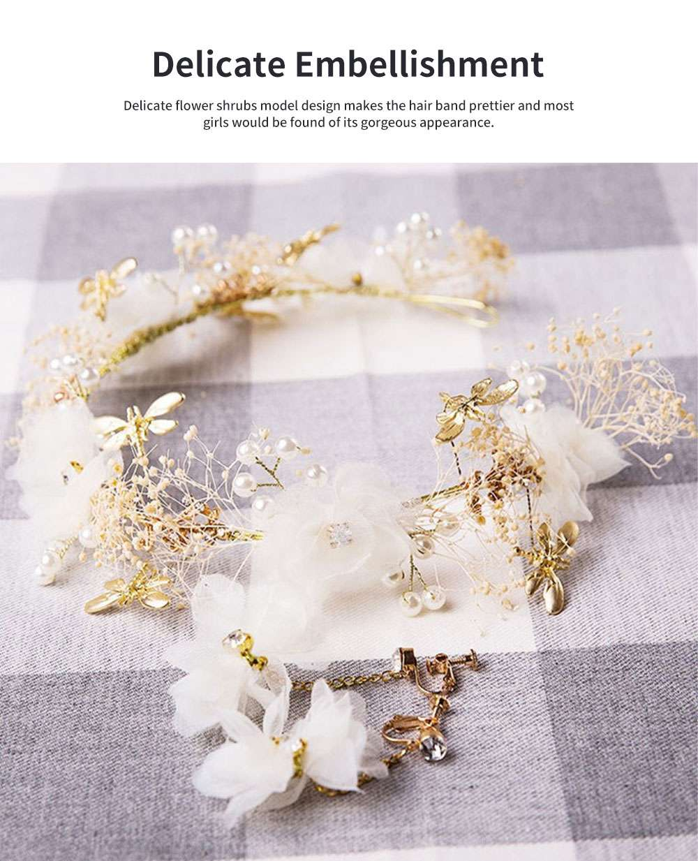 Fancy Flower Bees Model Artificial Pearl Decorative Hair Ornament Delicate Girl Crown Ear Clip Accessories Suit 3PCS 2