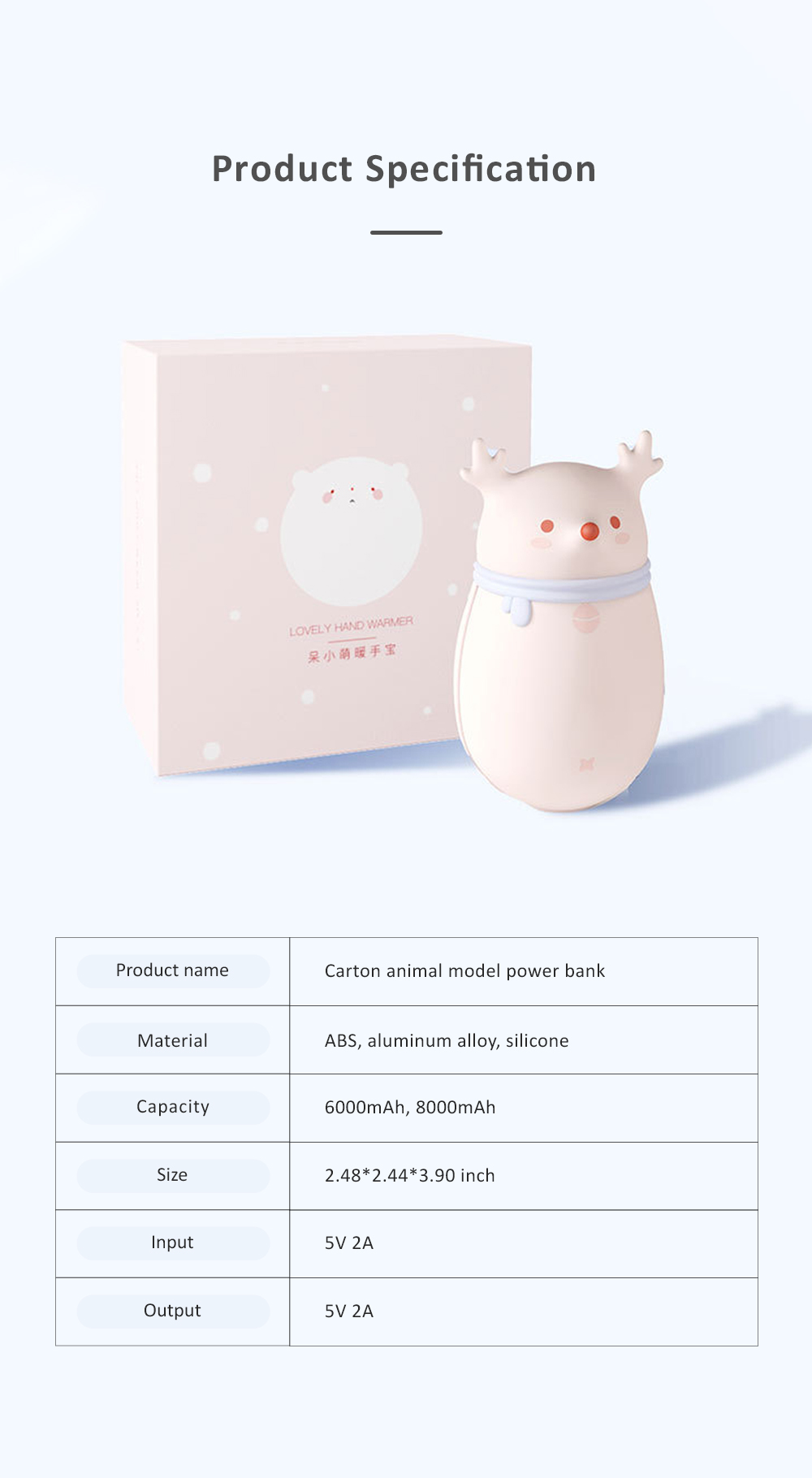 Cute Cartoon Animal Model Portable Power Bank Large Capacity Intelligent Temperature Control Two Sides Heating Hand Warmer 5