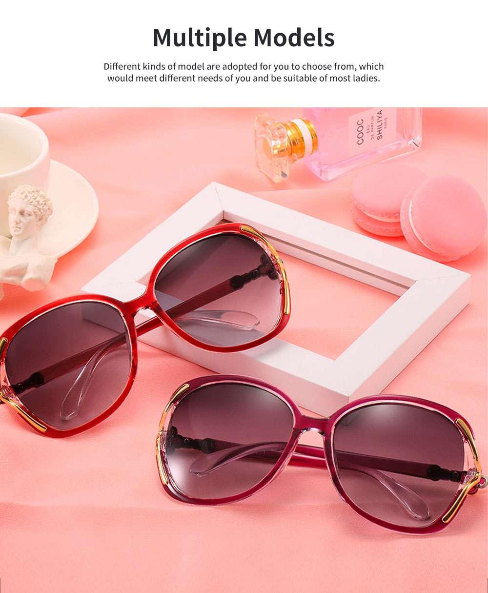 Elegant Fancy Gradient Eyeglasses Ladies Sunglasses UV Sunshine Protection Glasses with Delicate Hollow Clover Pattern Decoration 5
