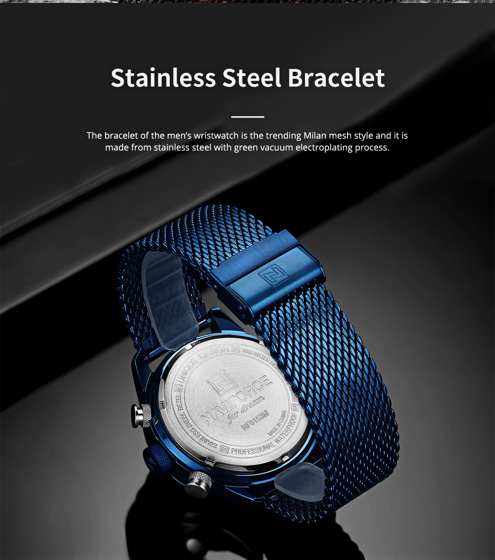 Fashionable Casual Men's Wristwatch with Stainless-steel Bracelet Waterproof Dual Display Movement Luminous Hand Quartz Sport Watch 3