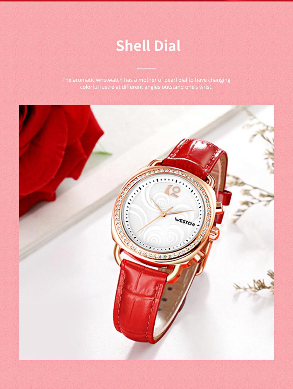 Fashionable Women's Wristwatch with Perfume Smell Screw-in Watch-head Wear Resistant Leather Miyota Quartz Watch 1