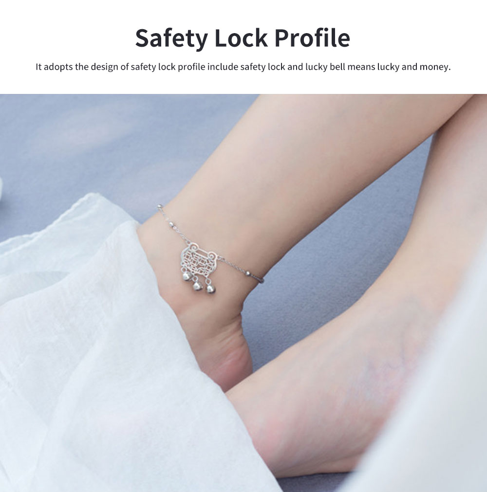 Pure Silver Anklet for Women Safety Lock and Lucky Bell National Style Fade-proof and Anti-allergy Lovely Chain 1