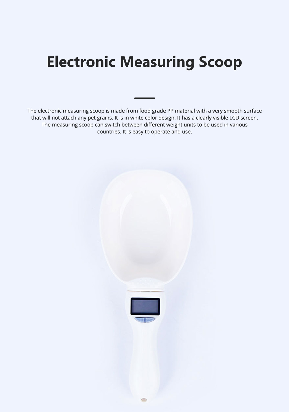 Electronic Measuring Scoop Food Grade PP Measuring Spoon for Dog Cat Rabbit Hamster Necessary Pet Product Cat Food Electronic Scale 0