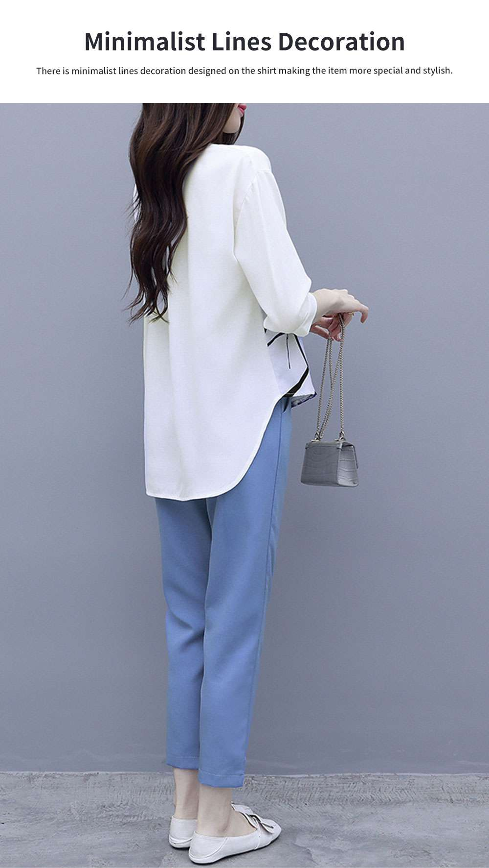 Minimalist Atmosphere Spring Lady Shirt Casual Trousers Suit Fashion Light Feet Pants Jointed Style Top for Women 2