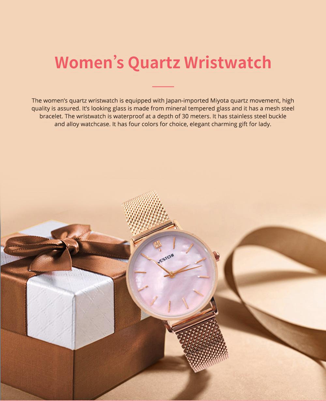 Elegant Quartz Women's Watch with Japan Miyota Movement & Mesh Bracelet Waterproof Mineral Tempered Looking Glass Wristwatch 0
