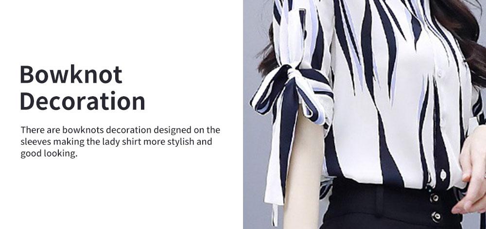 2PCS Minimalist Stylish Lines Printing Ladies Chiffon Shirt Loose Pants Suit Half Sleeve Tops Straight-leg Pants for Women 2