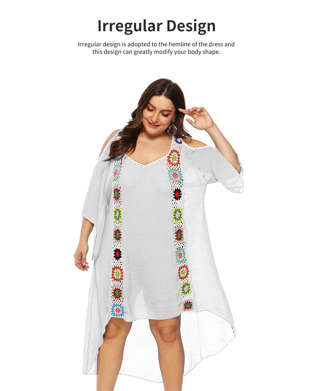 Minimalist Elegant Large Size Off-the-Shoulder Irregular Joint Dress Soft Slub Cotton Bikini Smock Beach Long Dress 3
